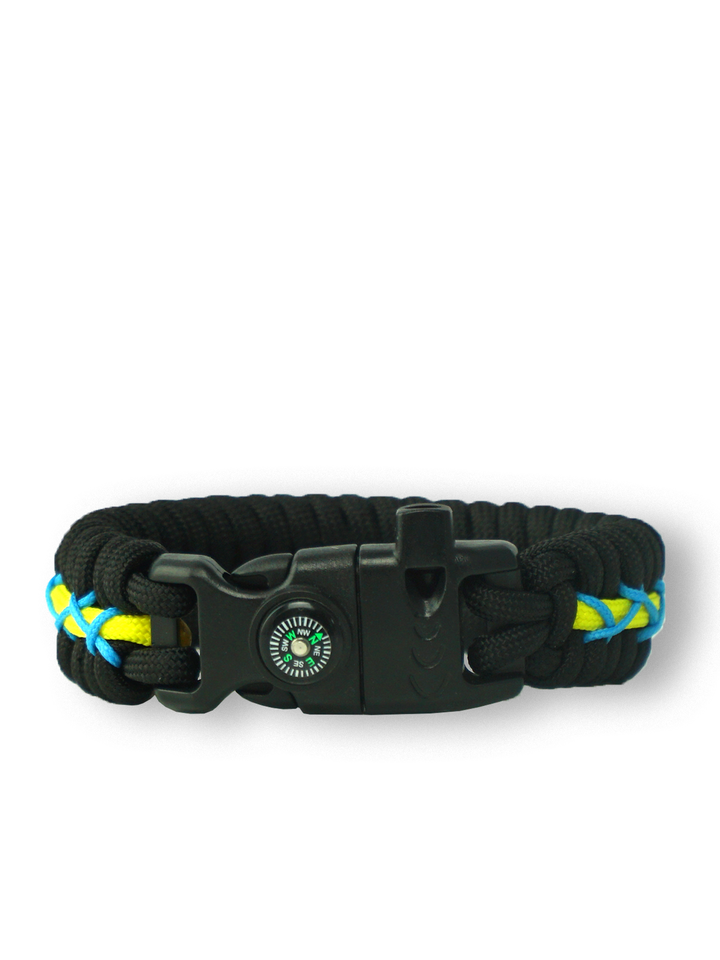 Original gift Black, Yellow & Blue Paracord Bracelet TrackWith Fire Starter, Compass and Whistle