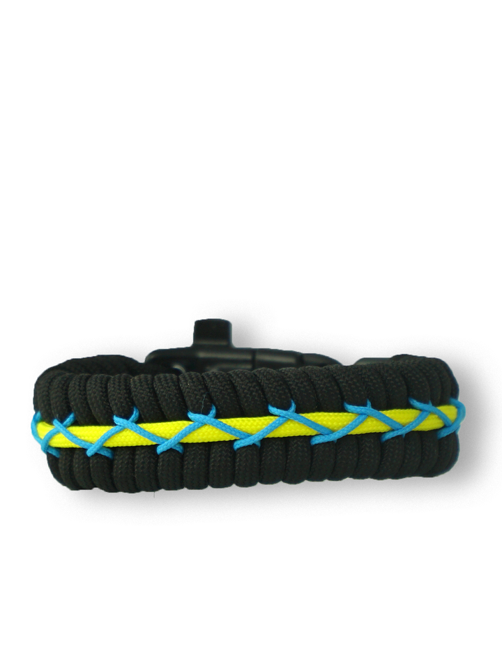 Gift idea Black, Yellow & Blue Paracord Bracelet TrackWith Fire Starter, Compass and Whistle
