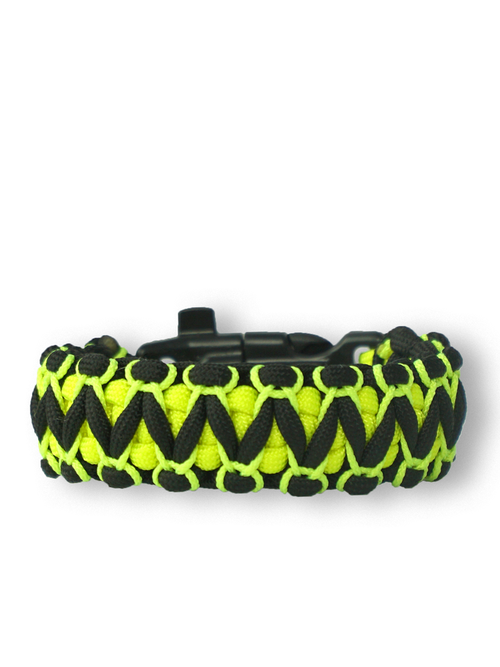 Sale Black & Yellow Paracord Bracelet Viper With Fire Starter, Compass and Whistle