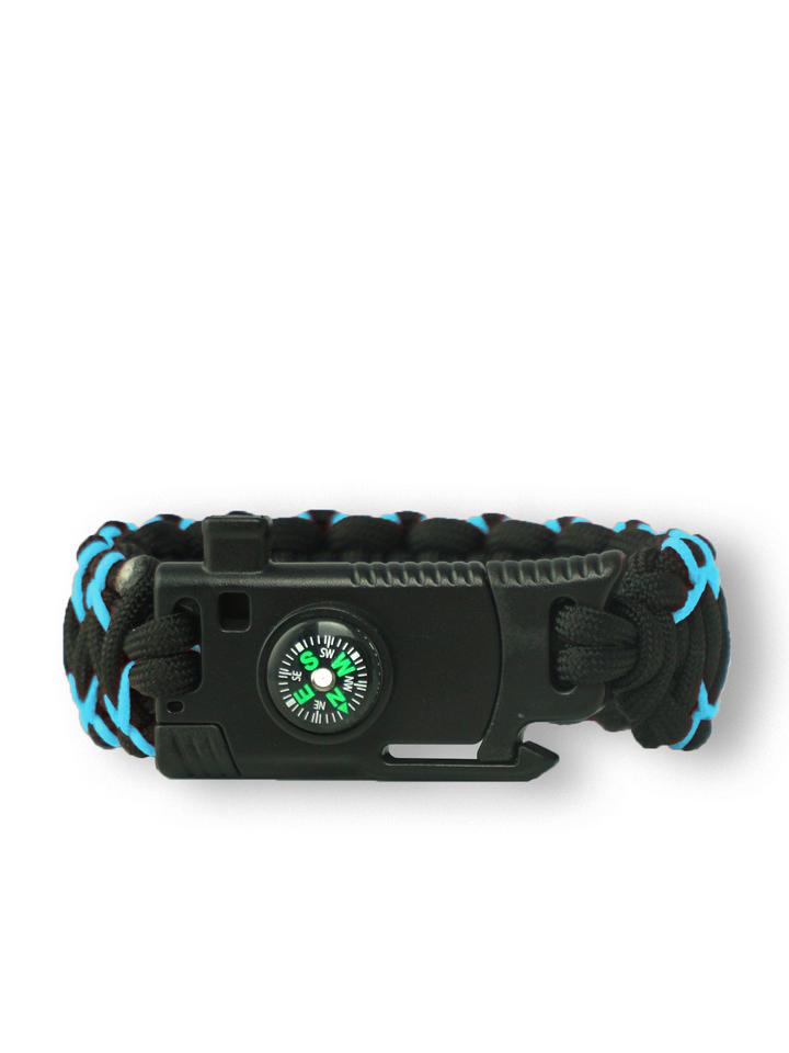 Výpredaj Bracelet en paracorde noir et bleu Warrior avec couteau, allume-feu, boussole et sifflet