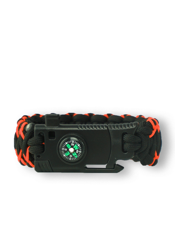Lifestyle photo Black & Orange Paracord Bracelet Warrior With Knife, Fire Starter, Compass and Whistle