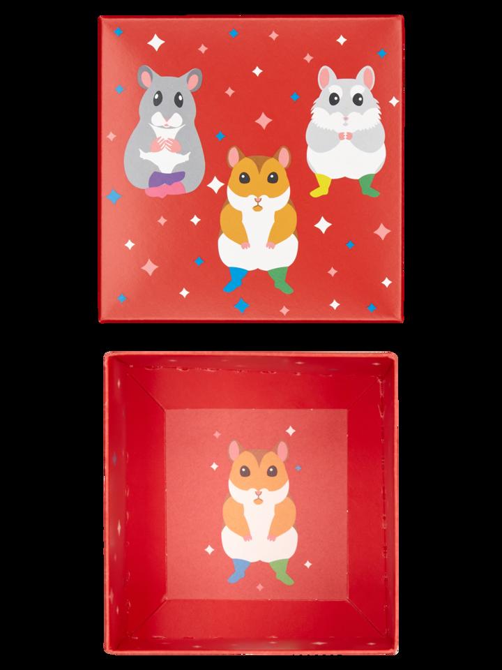 Výnimočný darček od Dedoles Kvadratna darilna škatla Plešoči hrčki
