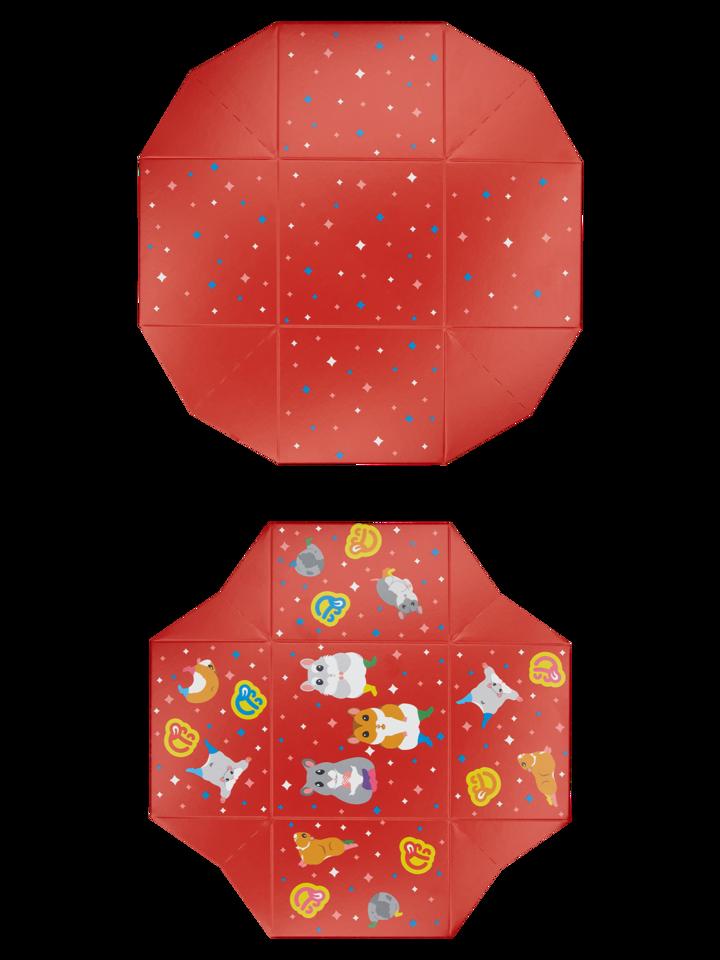 Tip na darček Kvadratna darilna škatla Plešoči hrčki
