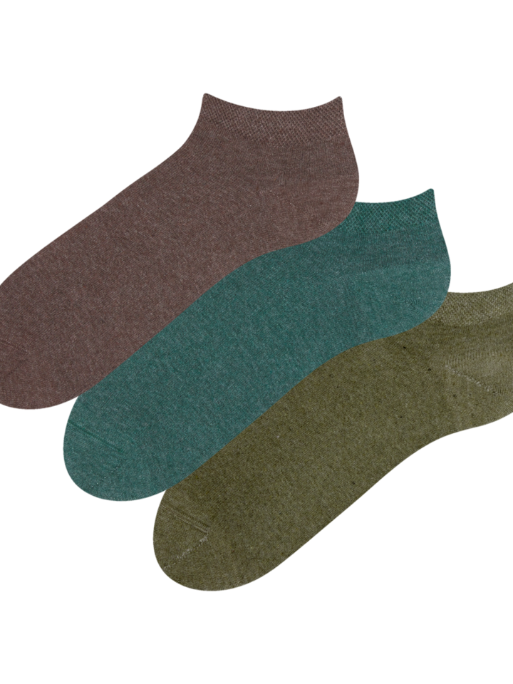 Sale Recycled Cotton Ankle Socks 3-pack Hunter