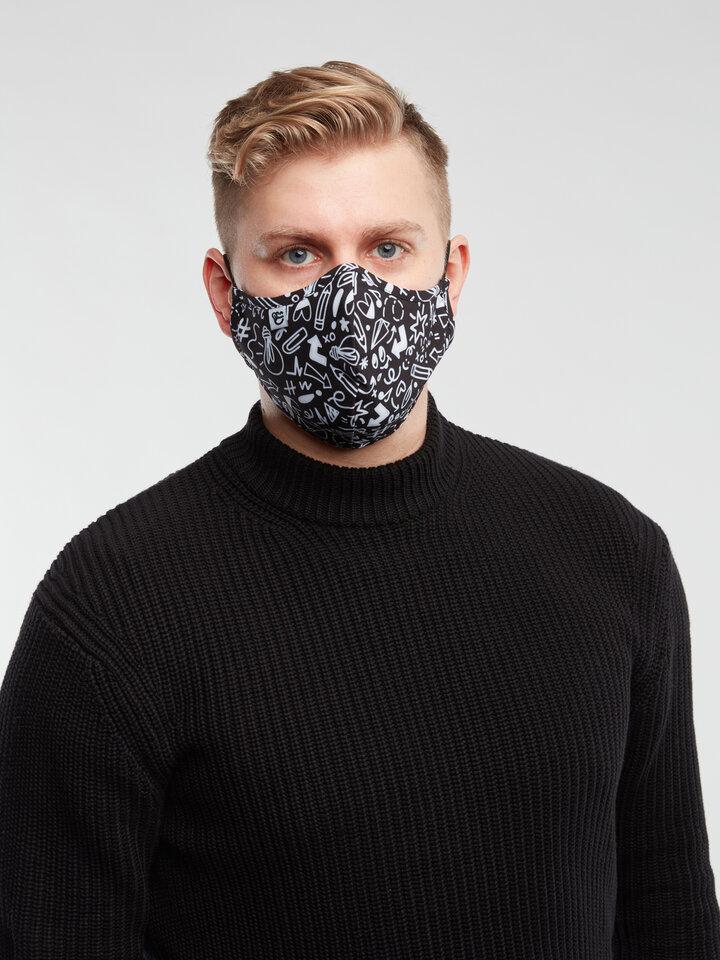 Lifestyle foto Živahna protibakterijska zaščitna maska Čačke - večja velikost