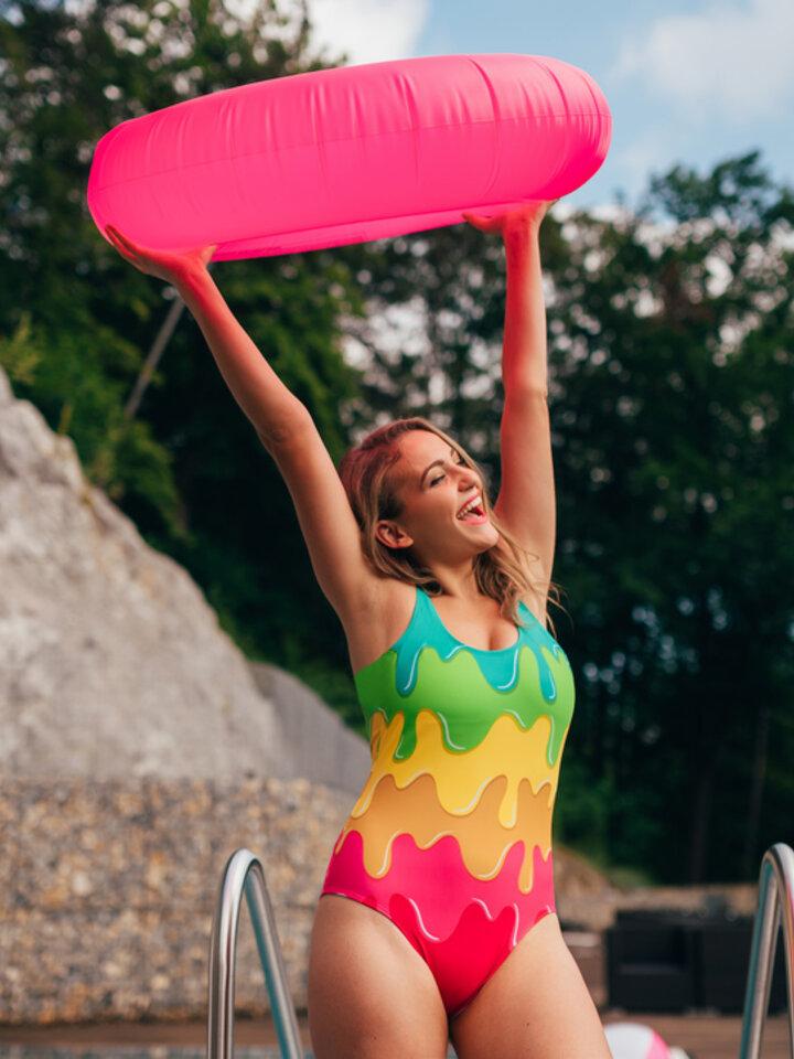 Original gift One-piece Swimsuit Colour splash