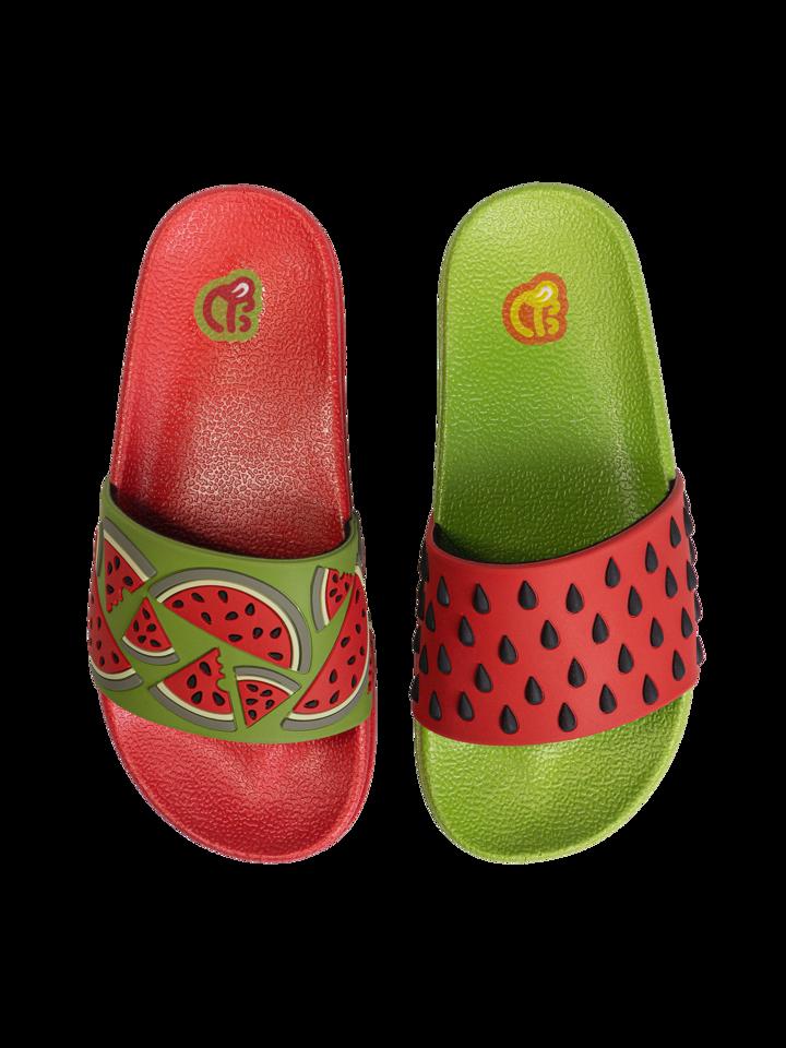 für ein vollkommenes und originelles Outfit Lustige Pantoletten für Kinder Wassermelone