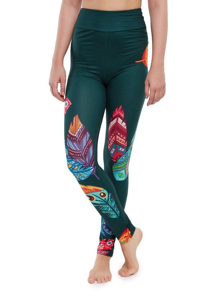 Obrázok produktu Vrolijke high-waisted leggings Kleurrijke veren