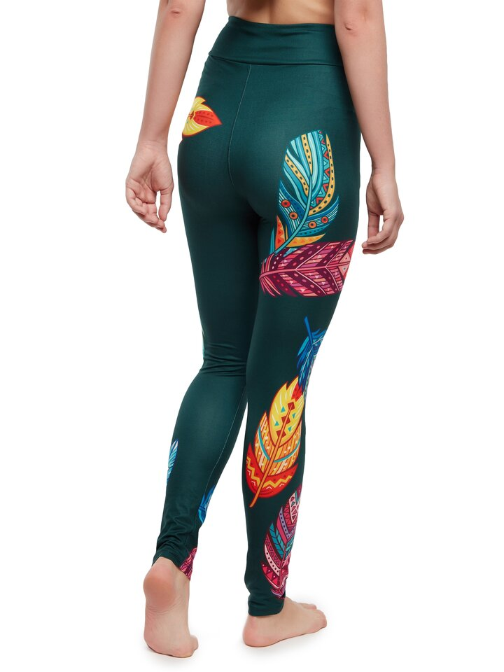 Looking for an original and unusual gift? The gifted person will surely surprise with High Waisted Leggings Colorful Feathers
