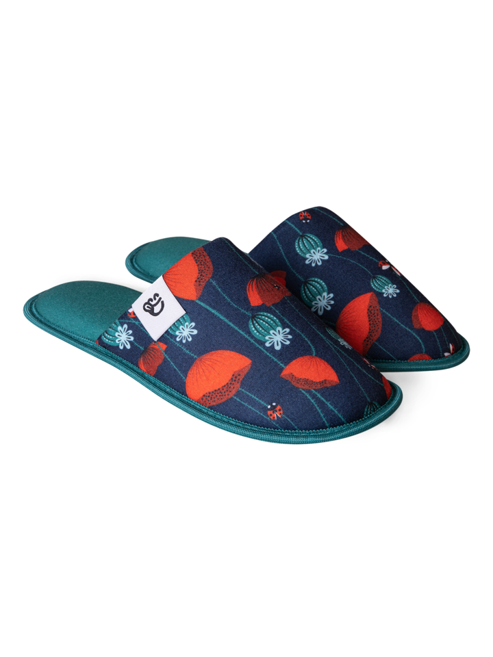 Lifestyle photo Slippers Ladybugs & Poppy Flowers