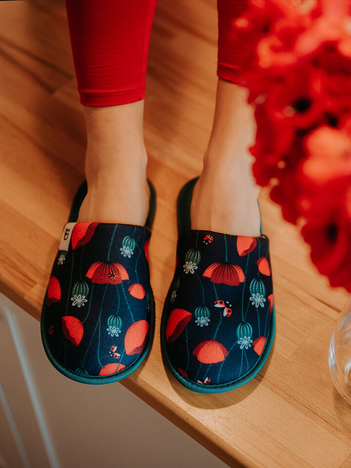 Gift idea Slippers Ladybugs & Poppy Flowers