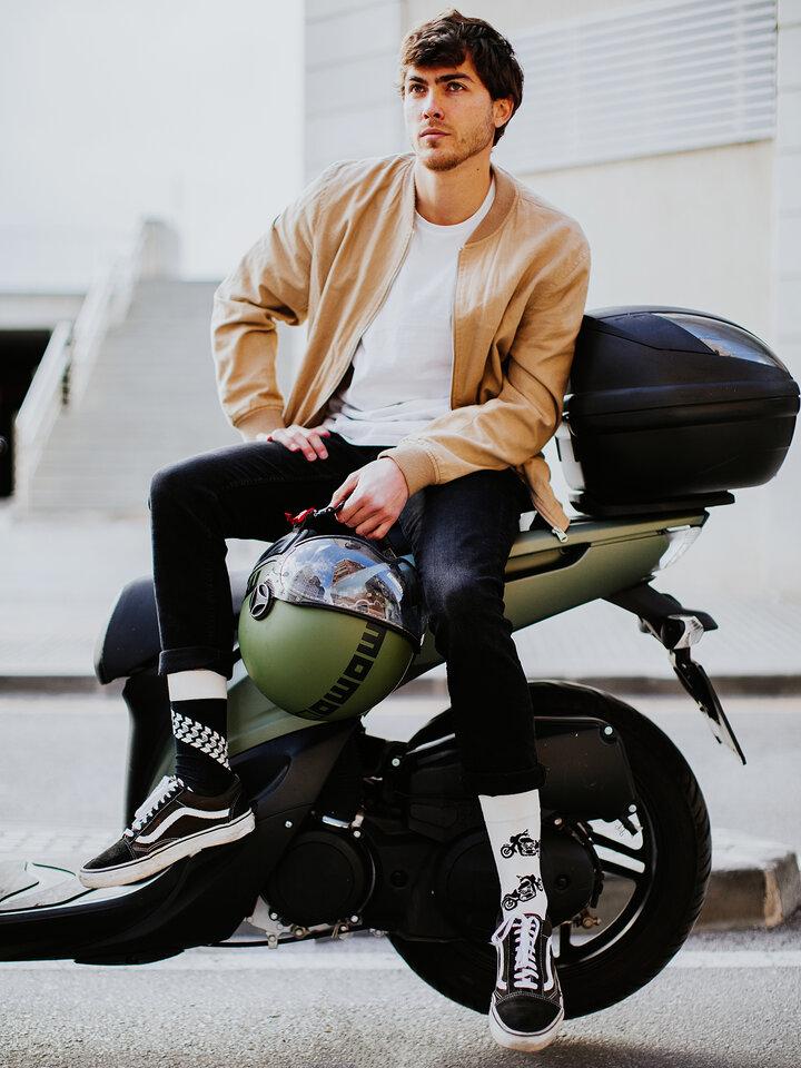 Lifestyle foto Chaussettes rigolotes Motocyclette