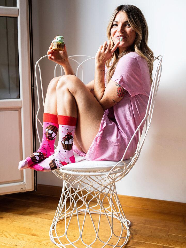 Foto Veselé ponožky Růžové koláčky