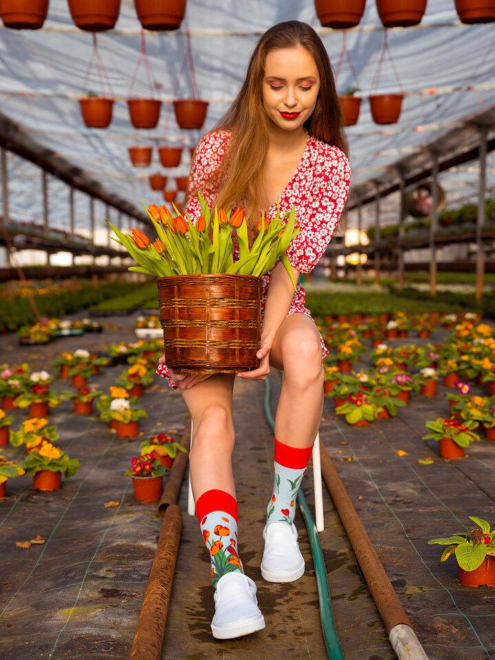 Pomysły na prezenty Wesołe skarpetki tulipany