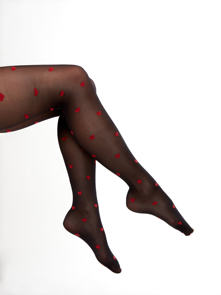 Gift idea Nylon Tights Red Hearts