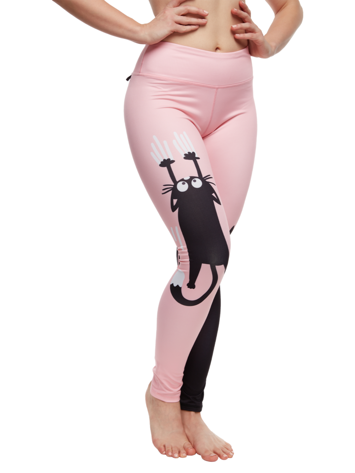 Lifestyle foto Leggings d'entraînement rigolos Chats rose