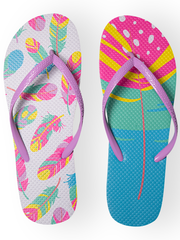 Lifestyle photo Flip Flops Colourful Feathers