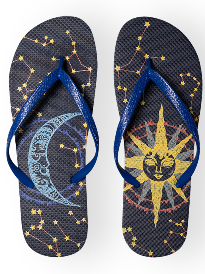 Sale Flip Flops Sun and Moon