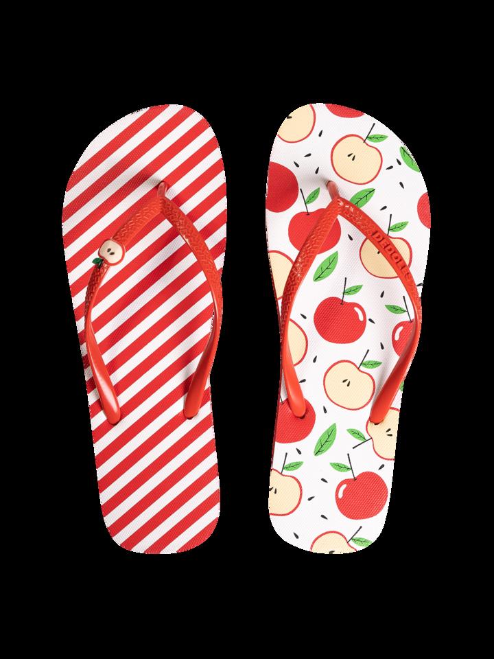 Pre dokonalý a originálny outfit Tongs rigolotes avec décoration Pomme joyeuse