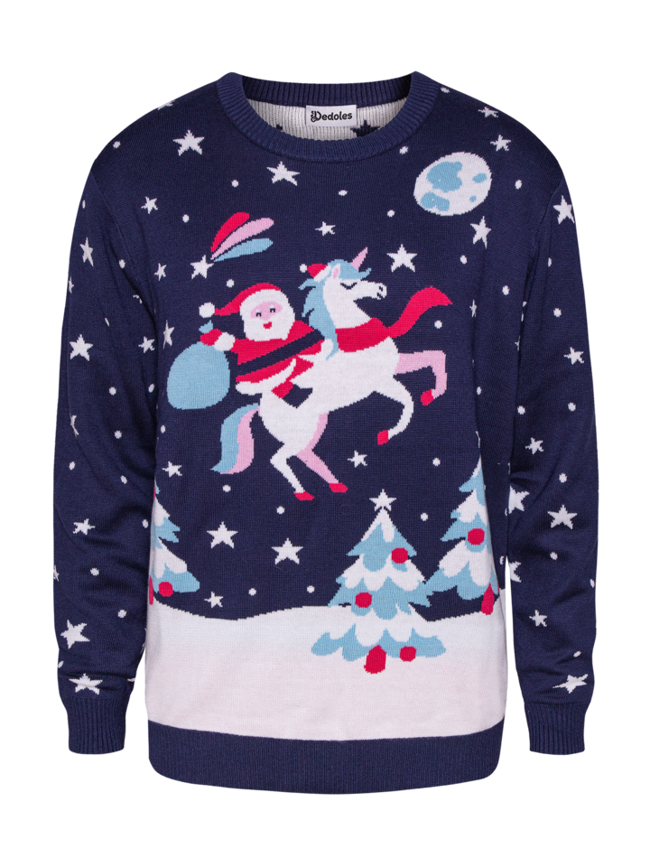 Original gift Christmas Sweater Santa & Unicorn