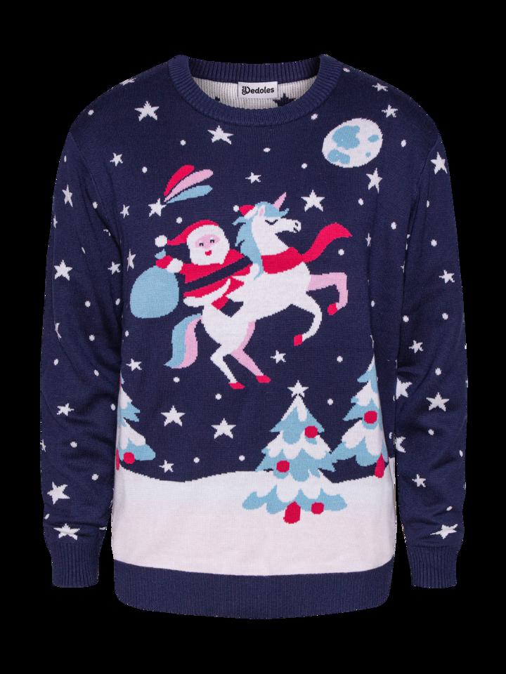 Eredeti ajándék a Dedolestől Vidám karácsonyi pulcsi Télapó és egyszarvú
