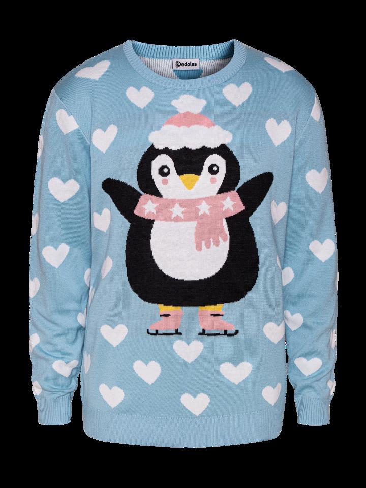 Potešte sa týmto kúskom Dedoles Veseli božićni džemper Pingvin na skateu