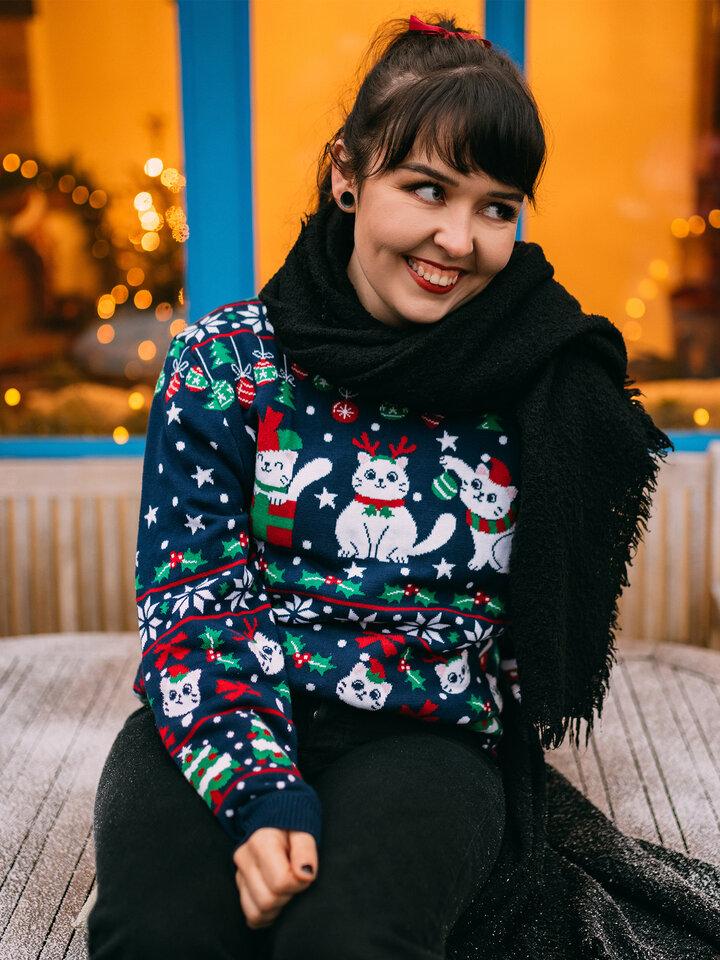 Original gift Christmas Sweater Christmas Cats