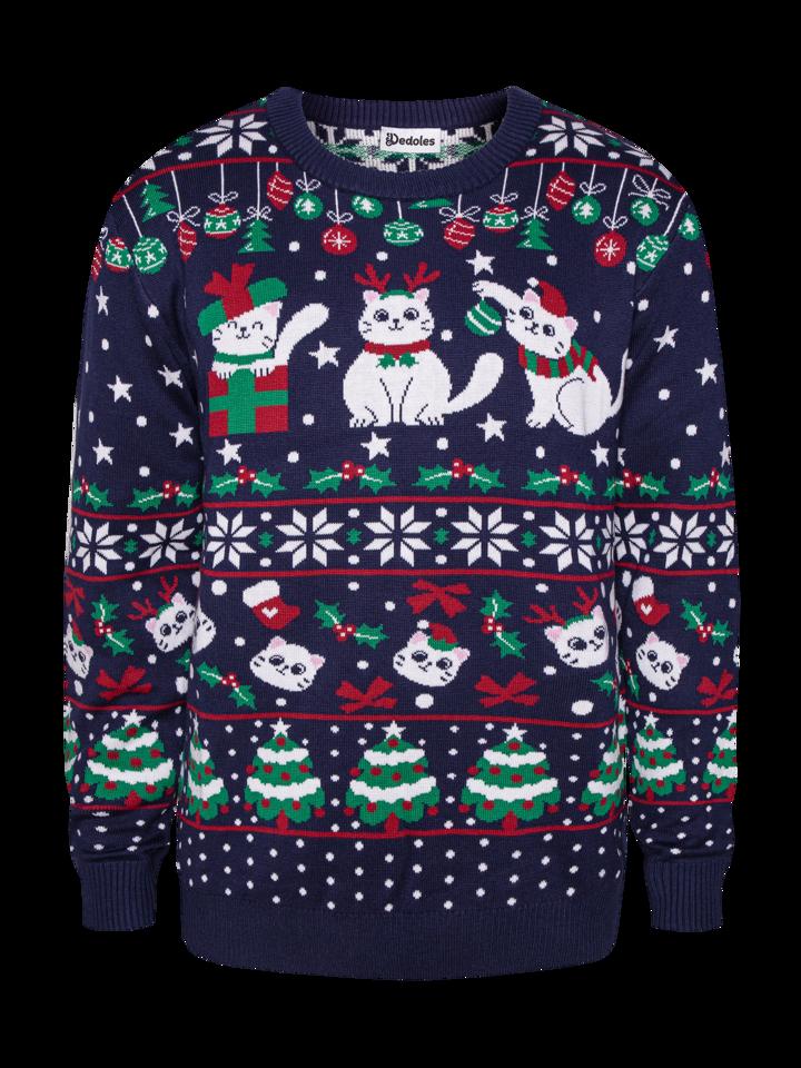 Zľava Sudadera alegre de Navidad Gatos navideños