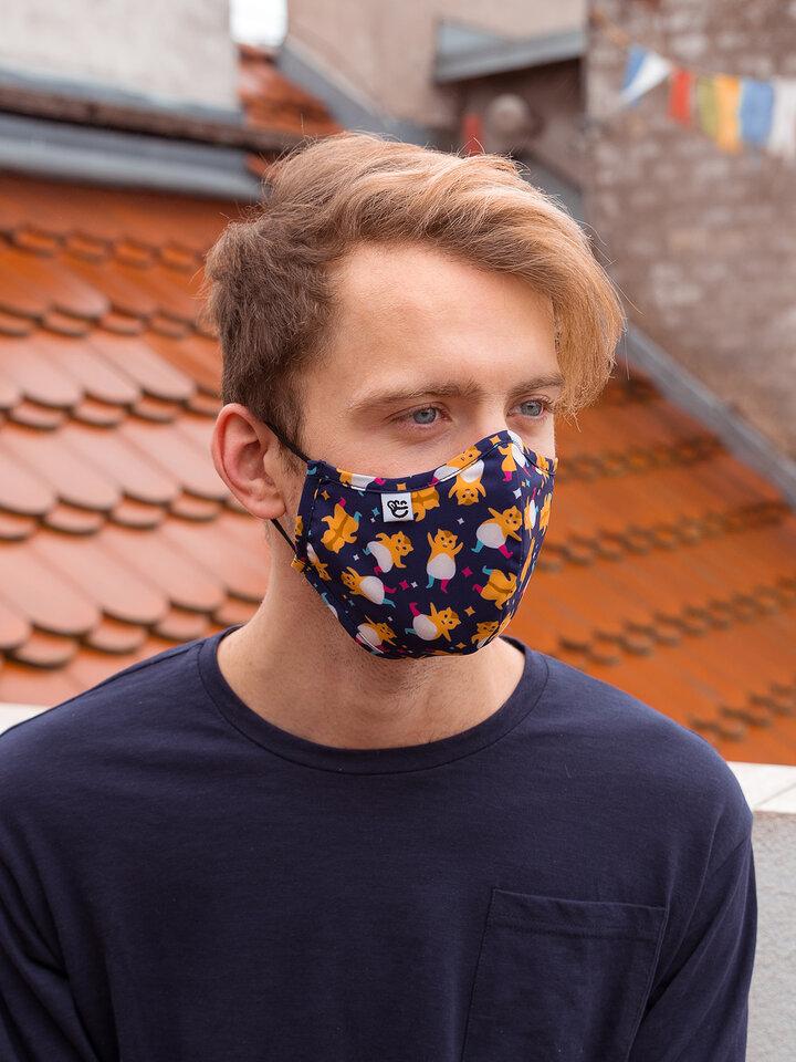 Lifestyle foto Masque facial antibactérien rigolo Hamsters en fête - Taille plus grande