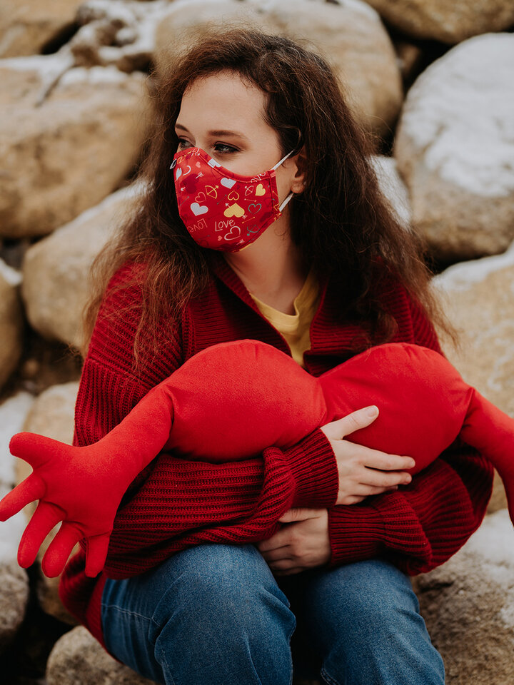 Lifestyle photo Antibacterial Face Mask Hearts - Larger Size