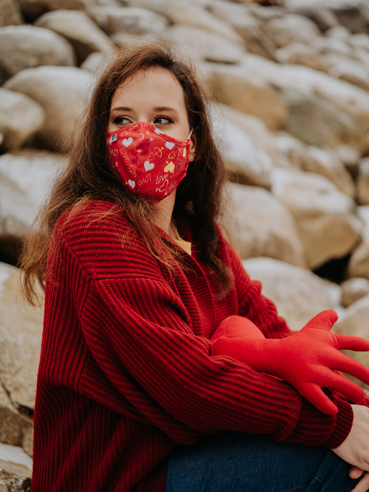 Gift idea Antibacterial Face Mask Hearts - Larger Size