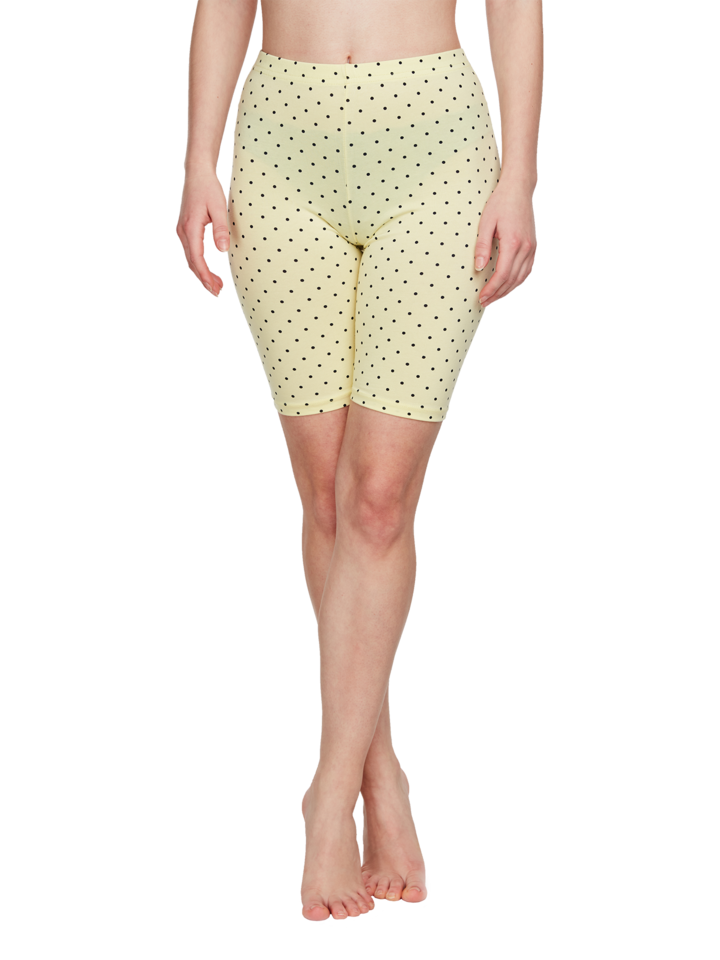 Pre dokonalý a originálny outfit Żółte bawełniane szorty rowerowe Kropki