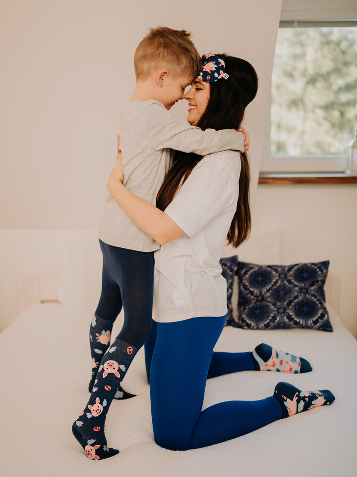 Sale Dark Blue Cotton Leggings