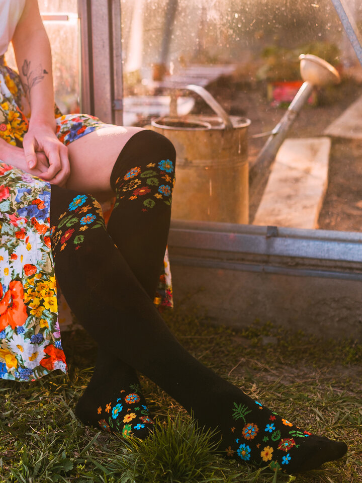 Lifestyle photo Over the Knee Socks Flowers