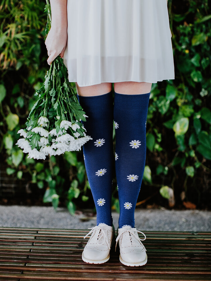 Lifestyle photo Over the Knee Socks White Daisies