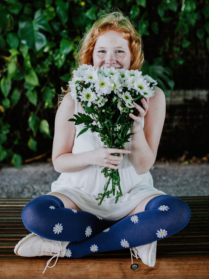 Gift idea Over the Knee Socks White Daisies