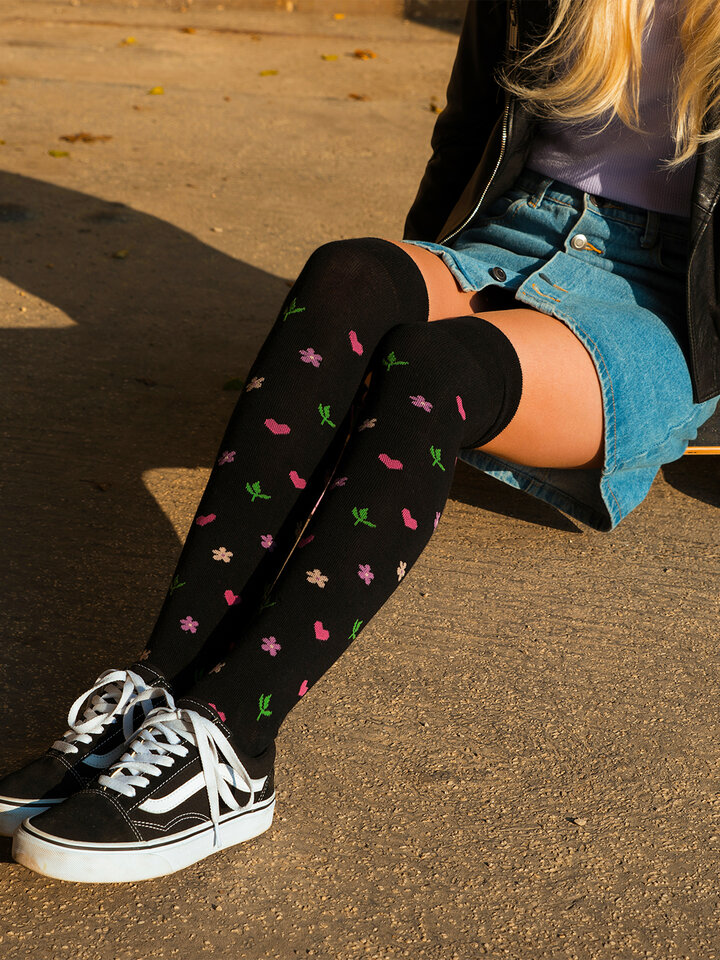 Sale Over the Knee Socks Flowers & Hearts