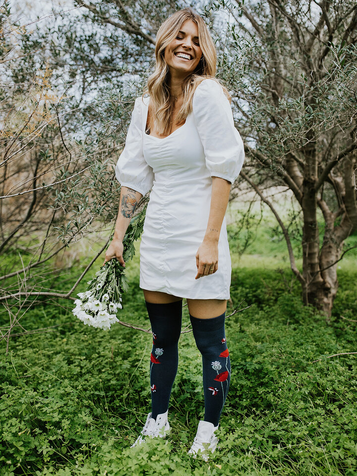 Sale Over the Knee Socks Ladybugs & Poppy Flowers
