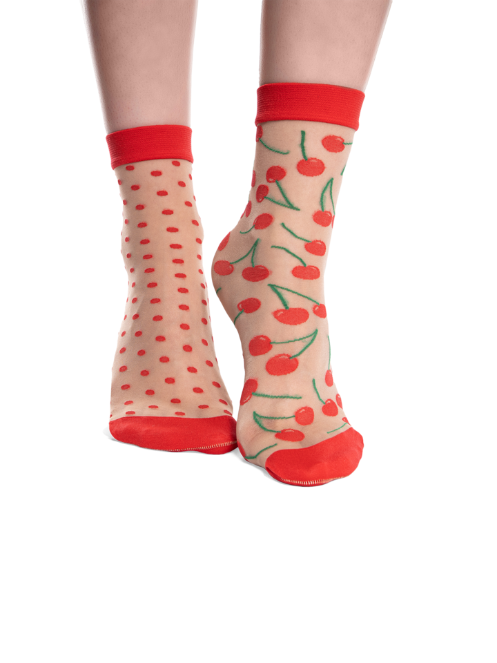 Potešte sa týmto kúskom Dedoles Calcetines de nailon alegres Cerezas y puntos