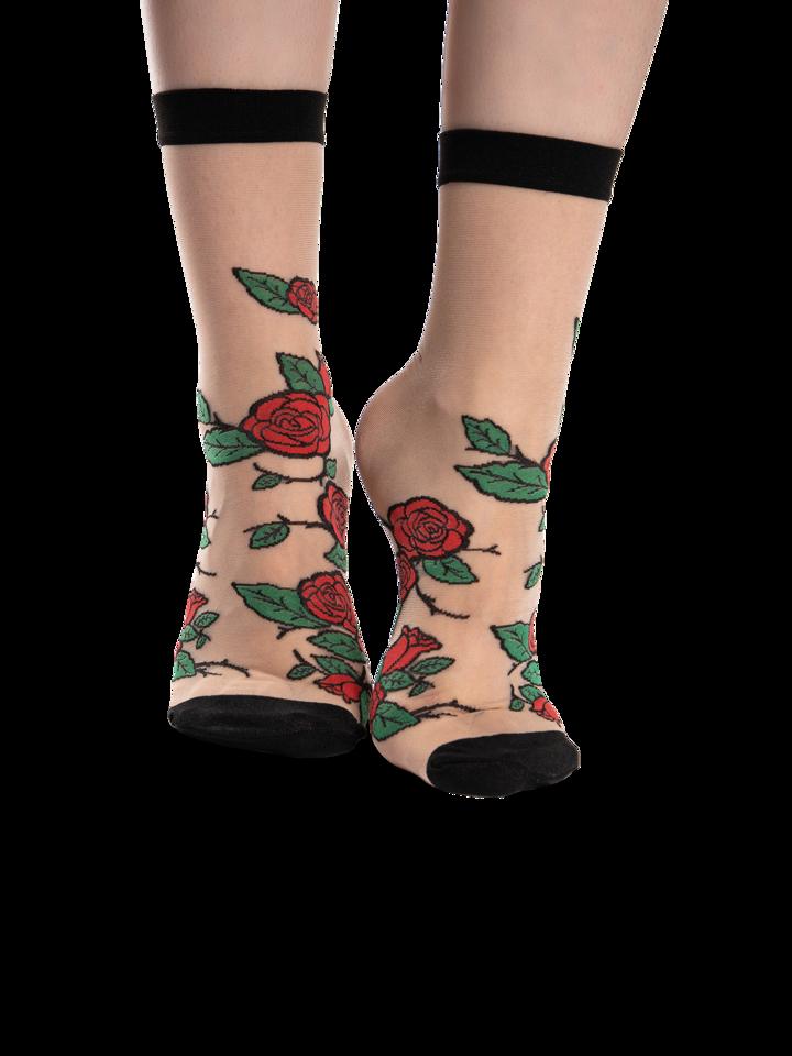 Sale Nylon Socks Red Roses