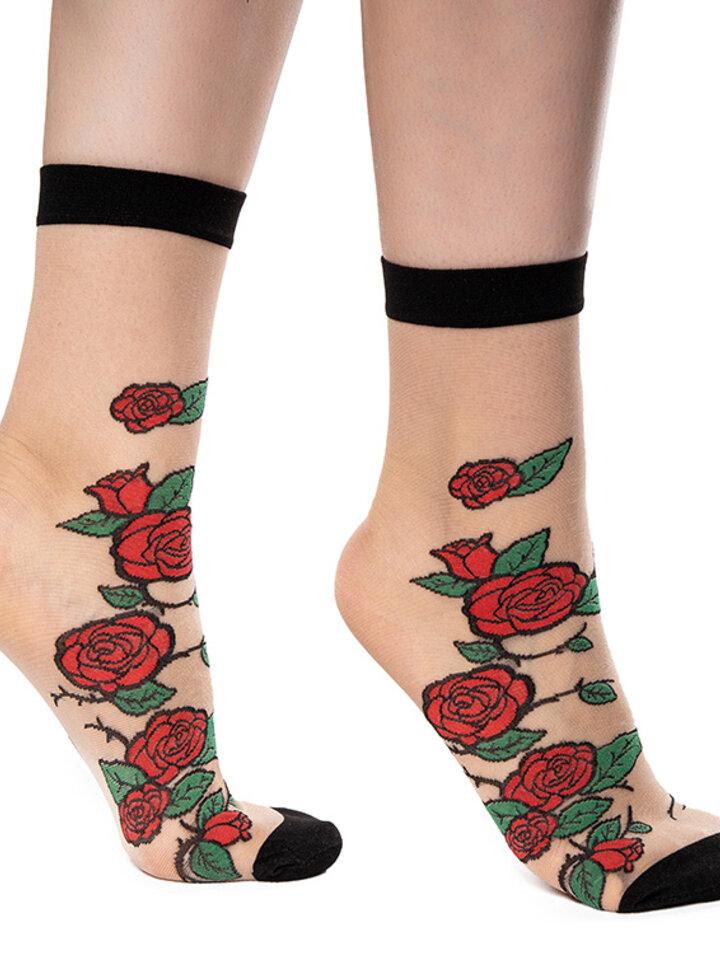 Tip na dárek Veselé silonkové ponožky Červené růže