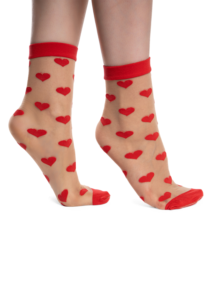 Gift idea Nylon Socks Red Hearts