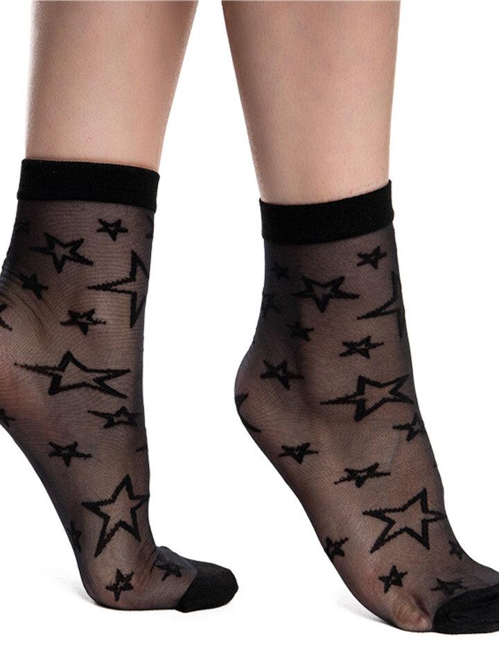 Foto Veselé silonkové ponožky Černé hvězdy