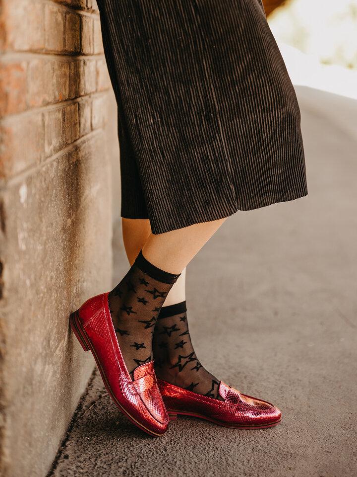 Obrázok produktu Весели найлонови чорапи Черни звезди