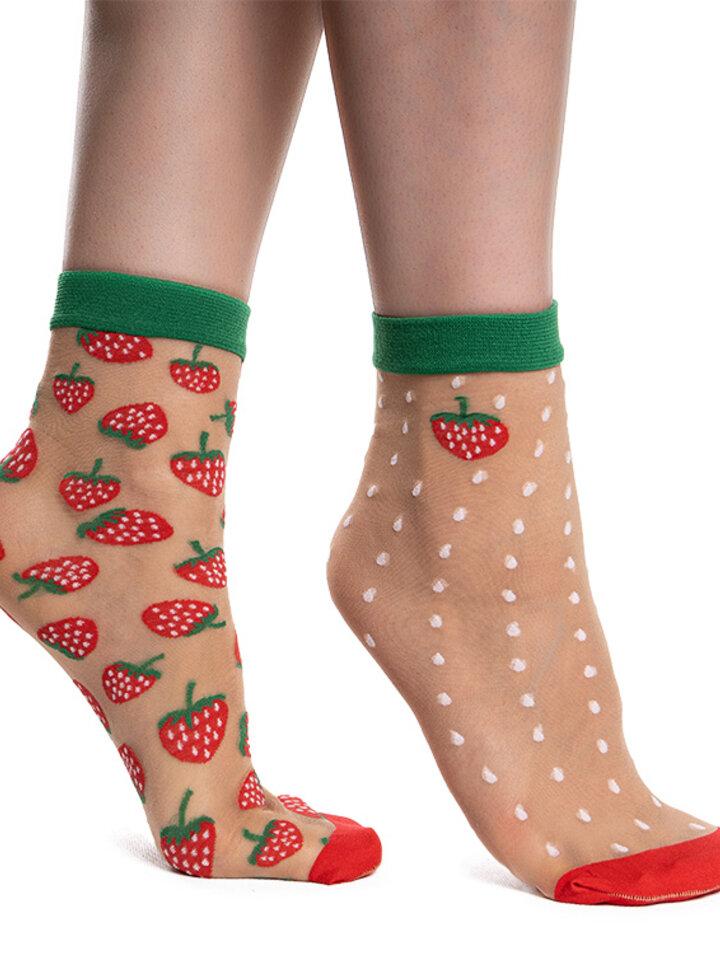 Výpredaj Veselé silonkové ponožky Jahody