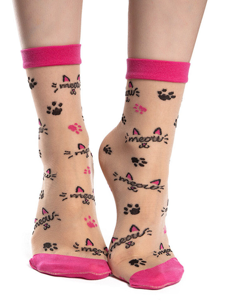 Výpredaj Veselé silonkové ponožky Mňau