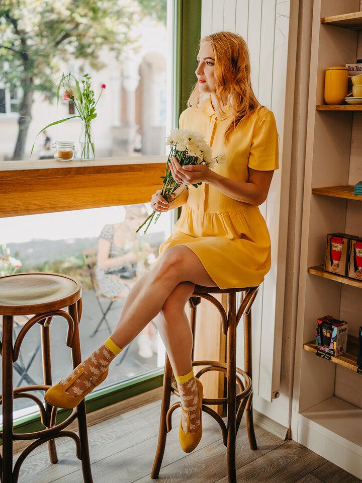 Pre dokonalý a originálny outfit Chaussettes rigolotes en nylon Marguerites