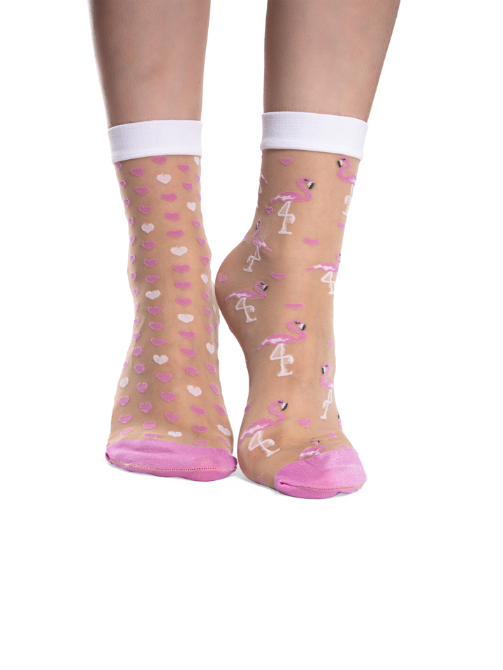 Looking for an original and unusual gift? The gifted person will surely surprise with Nylon Socks Hearts & Flamingos