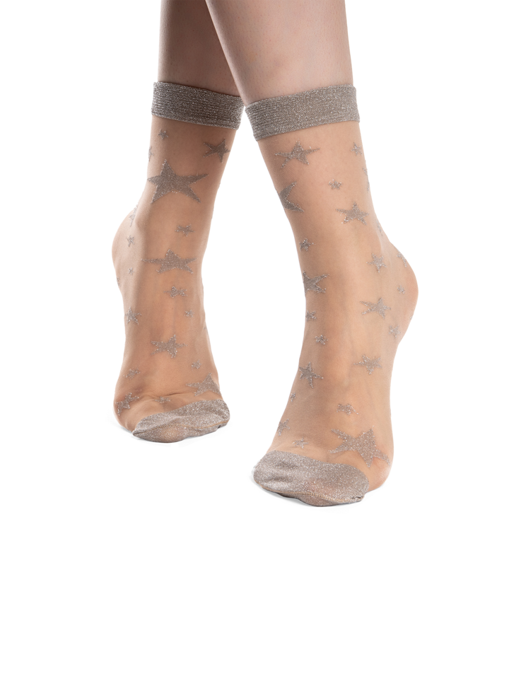 Original gift Nylon Socks Silver Stars