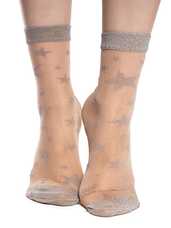 Foto Veselé silonkové ponožky Stříbrné hvězdy